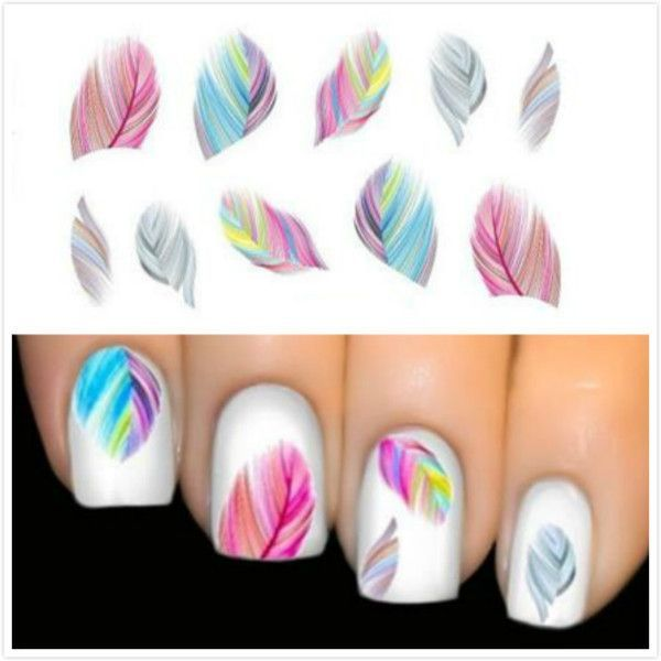 DIY French Manicure Nail Art Decorations Colorful Beauty Leopard Water Transfer Stickers Nail Art Tips Feather Decals 1PCS