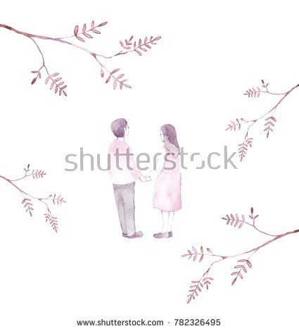 Beautiful girl and boy. By Ksenya Knysh.  @knyshksenya #illustration #illustrator #ksenyaknysh #watercolor #girl #flowers #nature #illustration #art #mothersday #valentine #white day #boy #love