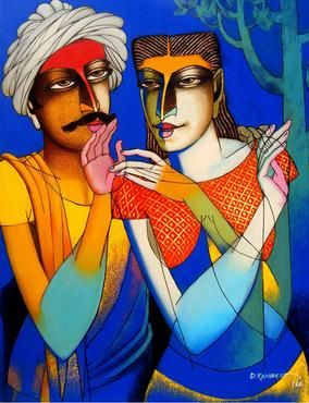 """Buy original art at IndianArtCollectors.com!  """"Couple-9"""" by Dayanand Kamakar Acrylic & Oil On Canvas, Size(inches): 24X36  See more artworks by him at: http://www.indianartcollectors.com/artist/DayanandKamakar"""