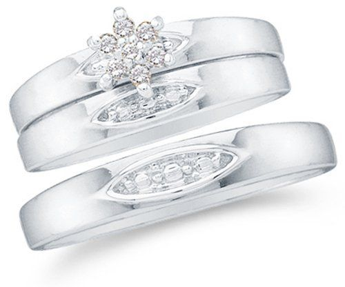 "10K Yellow Gold Diamond Mens and Ladies Couple His & Hers Trio 3 Three Ring Bridal Matching Engagement Wedding Ring Band Set - Flower Shape Center Setting w/ Channel Set Round Diamonds - (1/10 cttw) - SEE ""PRODUCT DESCRIPTION"" TO CHOOSE BOTH SIZES Sonia Jewels. $359.00. *** FREE Velvet Ring Box ***. This stunning 3 ring set is available in any/all sizes for ladies and men. Please choose the only ladies ring size from the drop-down box at checkout. After submitting payment,..."