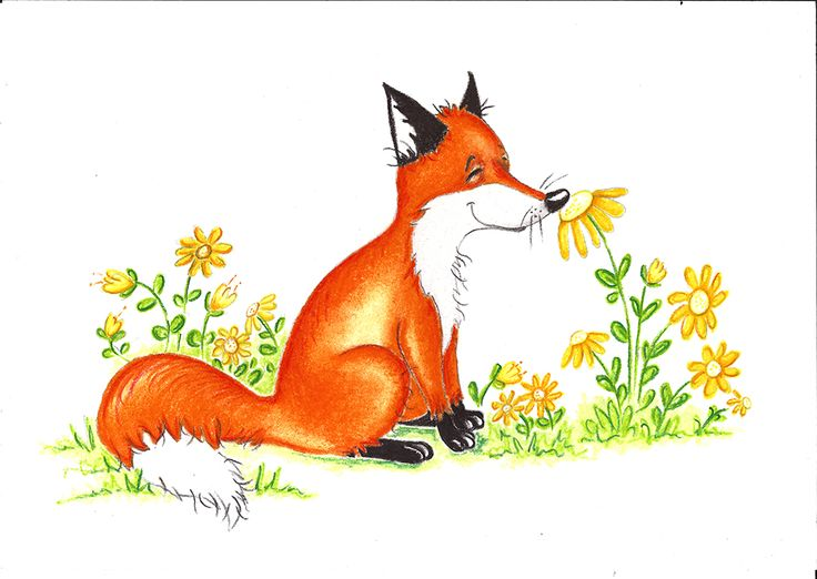 """Fox and Flowers""One of a series of fox prints. Pastel on Art Paper. Available as an original, prints or greeting cards."