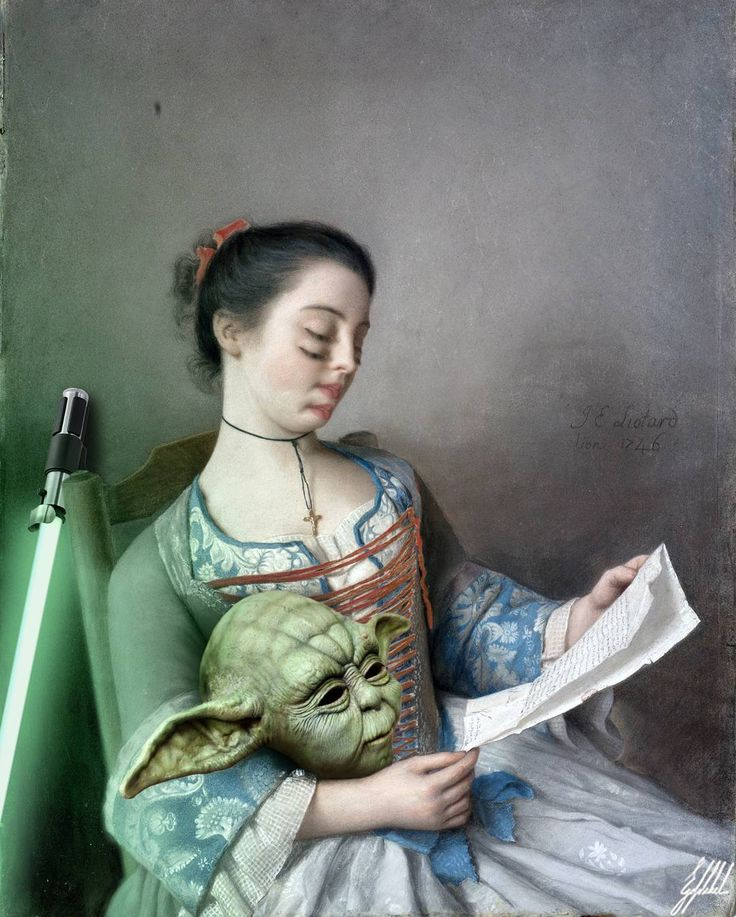 #famous #painting #liotard #lady #starwars #rehearsal #movie #yoda #mask #art #artwork #photomanipulation   La bella lectora painting by Jean-Étienne Liotard in 1746.  Last rehearsal before the shooting.