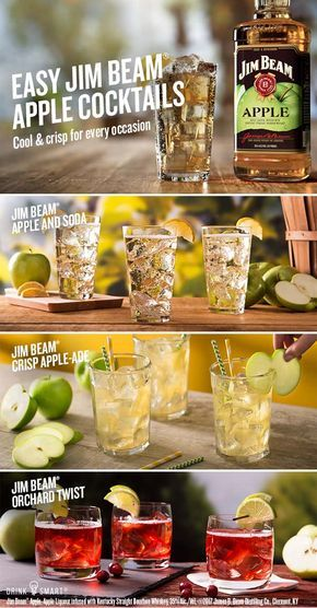 Three easy Jim Beam® Apple  cocktails to enjoy for this summer. Jim Beam® Apple, Apple Liqueur infused with Kentucky Straight Bourbon Whiskey, 35% Alc./Vol. ©2017 James B. Beam Distilling Co., Clermont, KY