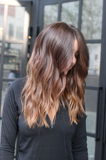 """Choi calls this one """"light, golden-toffee blond ends over natural auburn hair"""" — the perfect example of an on-trend take on bronde.  #refinery29 http://www.refinery29.com/new-hair-color-trends#slide-6"""