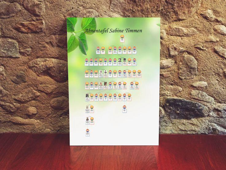 """Eine mit Ahnenblatt erstellte Ahnentafel. Das Blätterbild als Hintergrund fand ich ganz einfach über die Google-Bildersuche nach """"wallpaper leaves"""" (als """"wallpaper"""" werden im Englischen Desktop-Hintergrundbilder bezeichnet und """"leaves"""" ist das englische Wort für Blätter)."""
