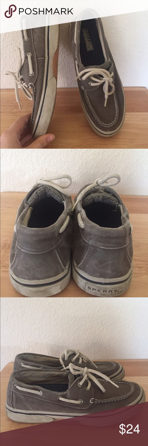 Men's faded Sperry Topsiders Men's Sperry Topsiders in a greyish taupe color. They are a size 8. Structurally in good condition, but fading to the shoe, and rubber is somewhat dirty, and Sperry is worn off the back of one of the shoes. #sperrys #mens #shoefie #sperrytopsiders Sperry Top-Sider Shoes Loafers & Slip-Ons