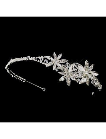 TRIPLE FLOWER SILVER CRYSTAL SIDE HAIRBAND - BRIDAL WEDDING HAIR ACCESSORIES - Bridal Hairbands - Hairbands - Hair Accessories