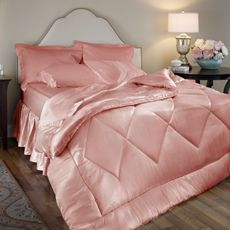 I bought a set like this from Victoria Secret and get complements when I dress my bed with its lux looking and feel of the real Satin Quality they used. Now I found this set and sharing because it looks similer in color to my set:: Scent-Sation Satin Luxury 4-Piece Rose Queen Size Comforter Set - Bed Bath & Beyond