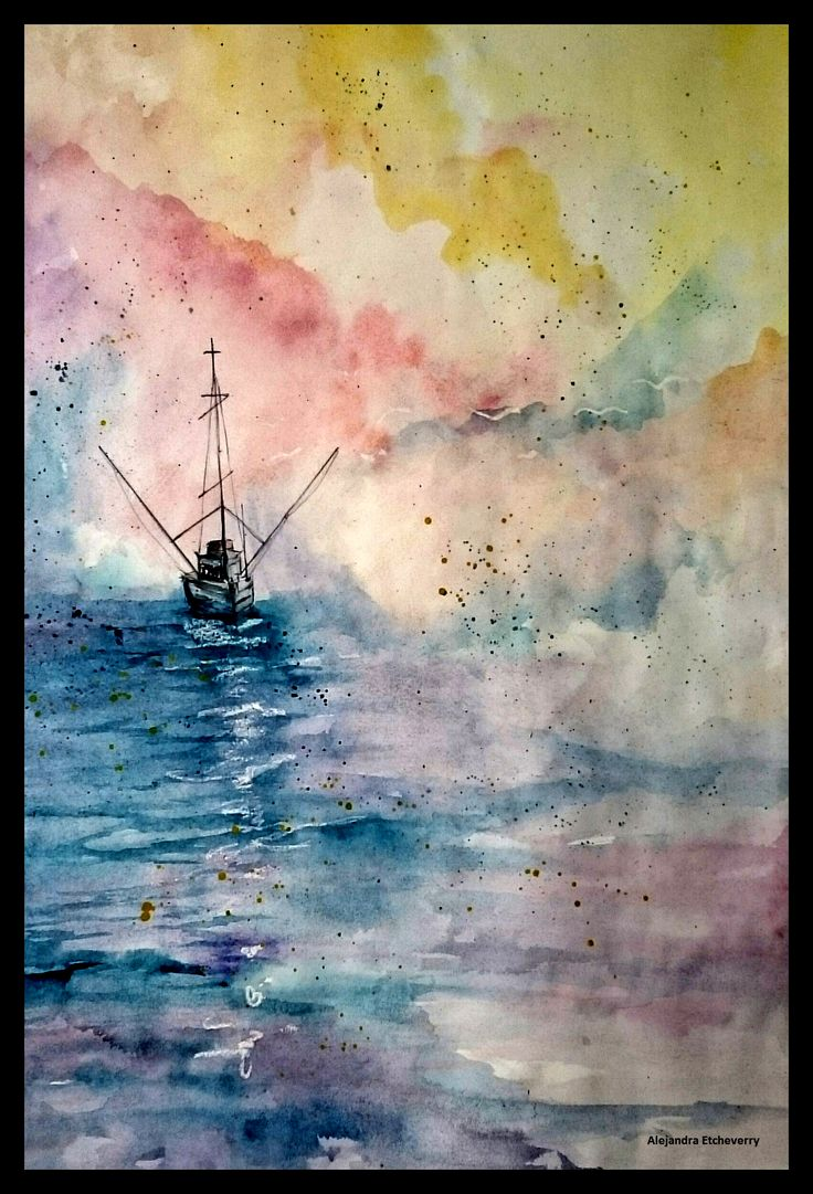 Título: Pesca en el amanecer - Aguada de acrílico (47x32cm) - San Luis, Argentina - Autora: Alejandra Etcheverry