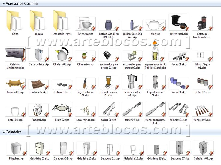 Amostra de Blocos Sketchup cozinha, geladeira, fogão, gás, botijão, liquidificador, prato, talher, garfo, colher, microondas, depurador, sugar, pia, torneira, refeição, bancada, tudo em 3d.