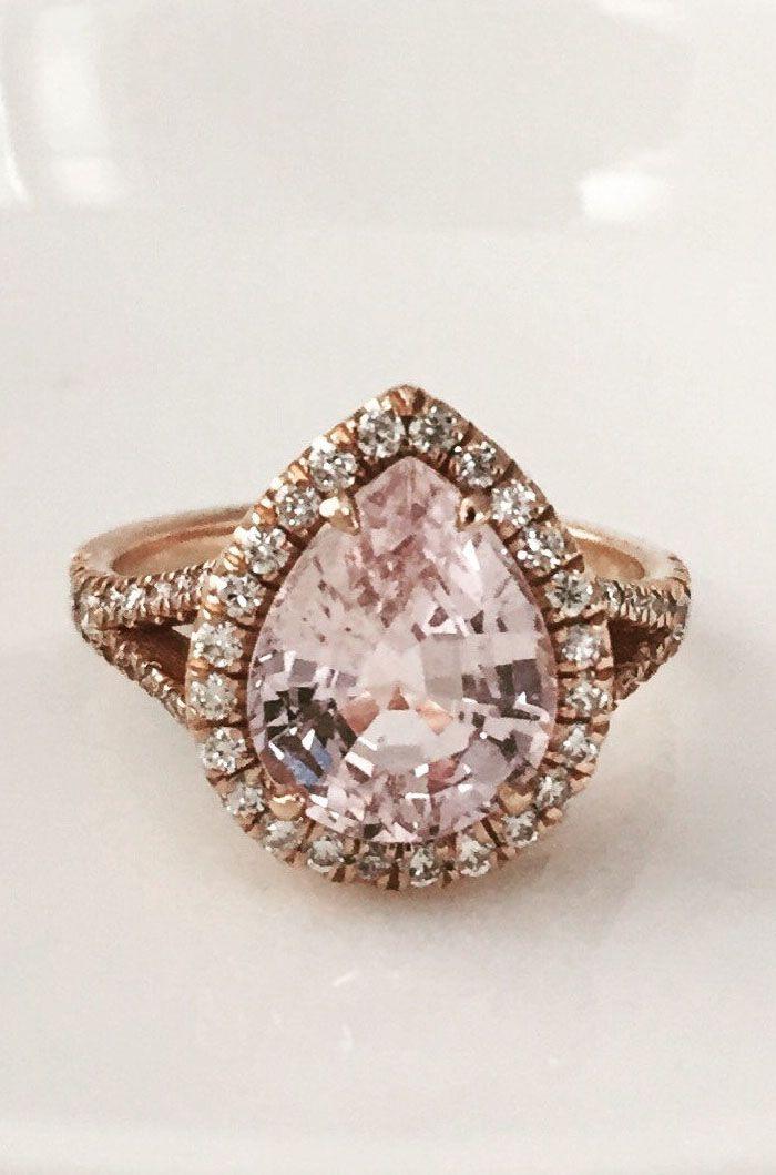 Pear Cut Light Peach Sapphire Split Shank Diamond Engagement Ring in 14K Rose Gold