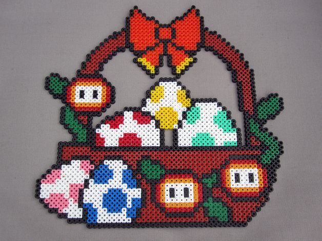 Yoshi Easter egg basket - Mario hama beads Pixel-Art-83