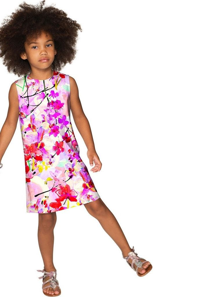 Orchid Caprice Adele Pink Floral Print Shift Dress - Girls