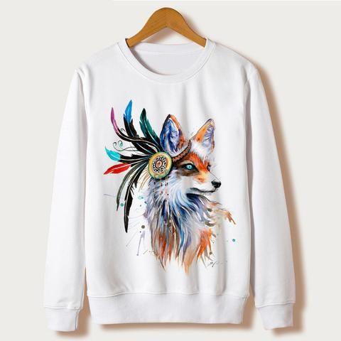 Harajuku Fox Fashion Sweatshirts Full Sleeve