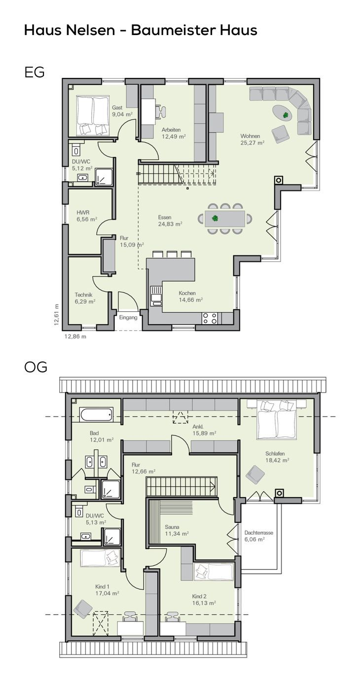 Floor plan Detached house with garage – 6 rooms, 220 sqm living area, pitched roof