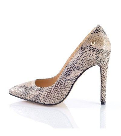 Pantofi stiletto print sarpe bej