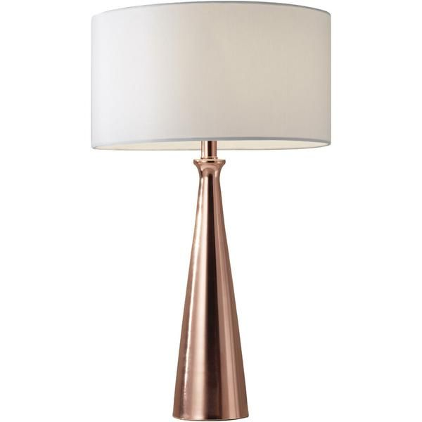 A smooth, tapered base with a brushed copper finish beautifully reflects the light shining through a smooth white linen fabric shade. The Luna Table Lamp is the