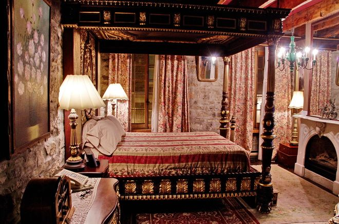My bedroom - complete with a gorgeous four poster bed at the Pierre du Calvet Hotel in Old Montreal, Quebec