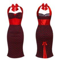 Ladies 50s Pencil Wiggle Retro Style Rockabilly Vintage Red Polka Dot Shift Womens Evening Dress