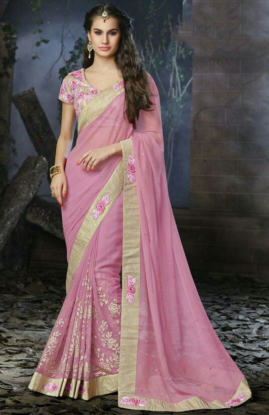Carnation pink saree with blouse.  Fabric - Faux chiffon.  Work - Foil print…