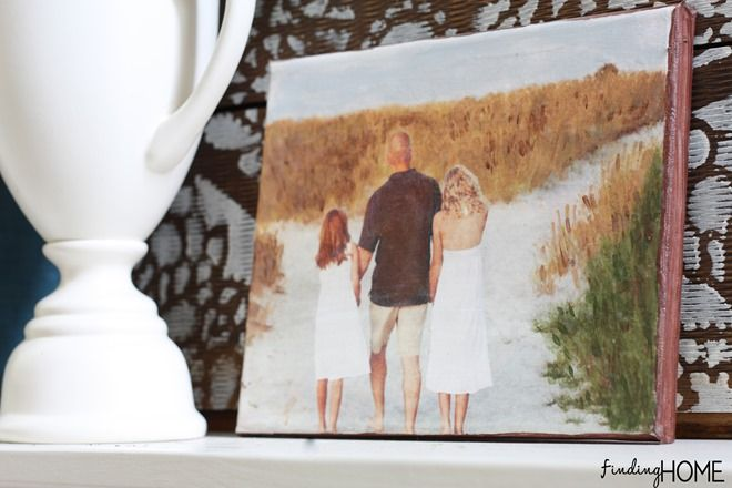 canvas made with mod podge photo transfer medium
