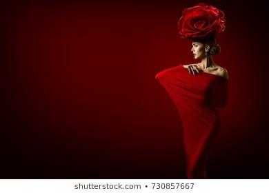 #Beauty #Fashion #Model  Beauty Fashion Model and Rose Flower Hairstyle, Elegant Art Woman Red Dress, Roses Crown on Head