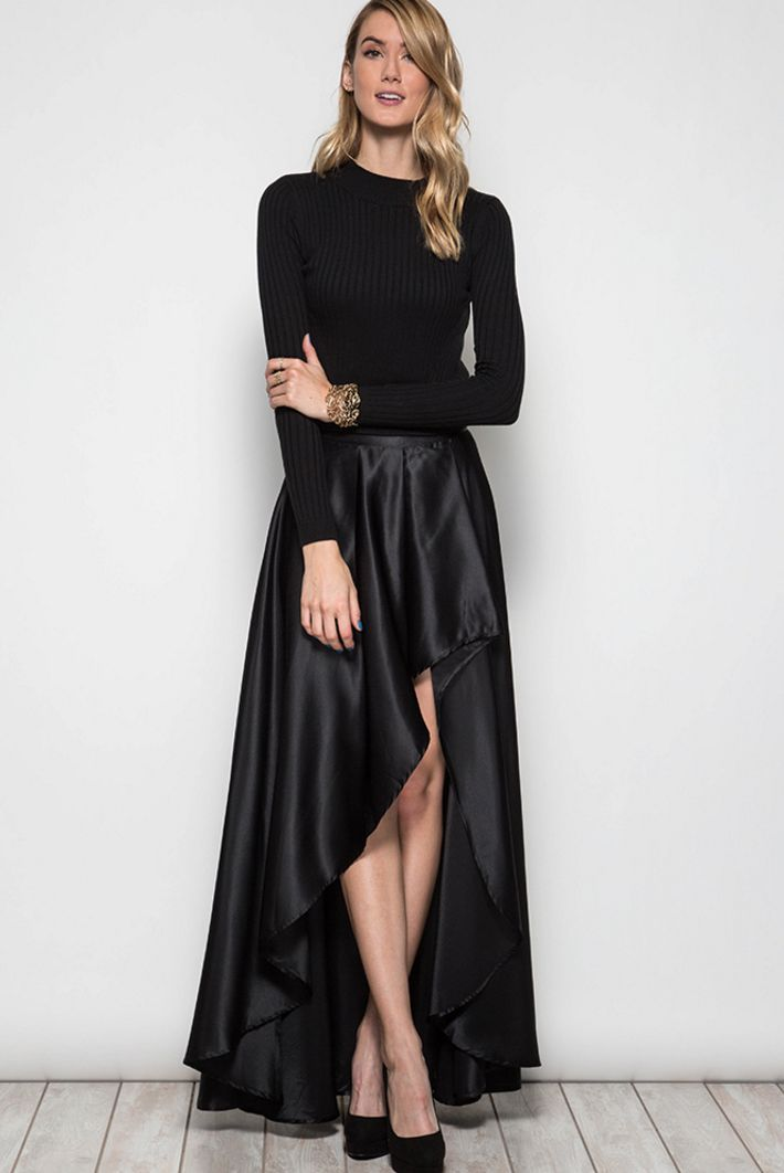 """Black Fit: LONG TAFFETA HIGH AND LOW SKIRT Fabric: S:70%COTTON 30%POLYESTER L:100%POLYESTER WOVEN SKIRT ANIMAL FREE / VEGAN FASHION Model is 5' 10"""""""