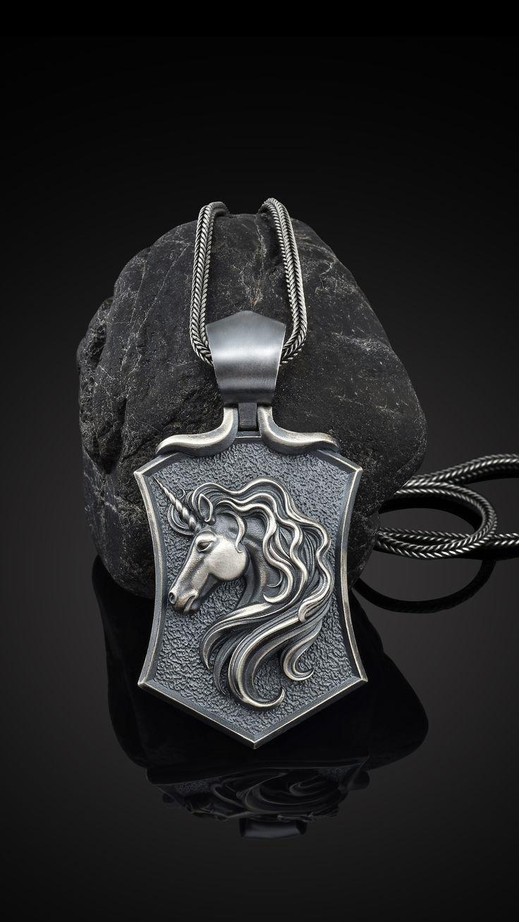 Shield Men Necklace Unicorn Jewelry Men Pendant Sterling Silver Unicorn Gift Necklace Silver Unicorn Necklace Oxidized Men Pendant