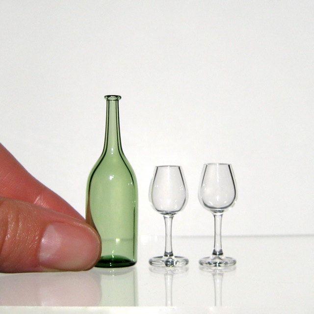 Miniature Wine Set in Green, Hand Blown Glass
