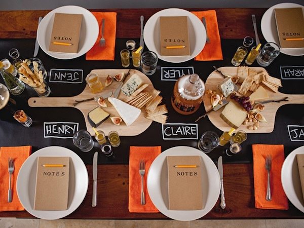 Hand-drawn placecards, a great idea for a casual get-together #DIY: Table Settings, Wine Tasting, Wine Party, Parties, Beer Tasting, Cheese Party, Tasting Party, Party Ideas