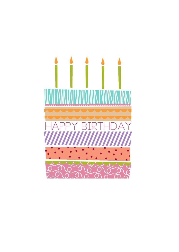 """Carte : gateau """"happy birthday"""""""