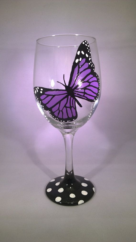 Hand Painted Purple Monarch Butterfly Wine Glass. Great Gift for Mothers Day or for that friend who has everything. Can add personalization on
