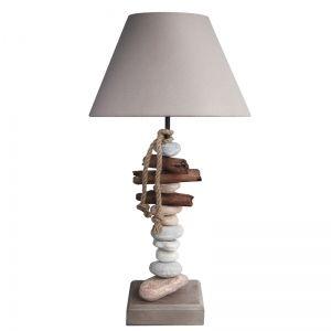 Lampe déco avec pied en bois flotté et galets Bénodet: Luminaire contemporain idéal comme lampe de salon ou lampe de chevet...