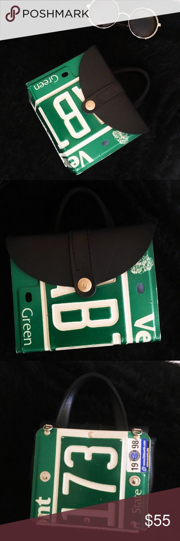 Little Earth Recycled License Plate Mini Purse This Purse has a story, and has a lot of love. Was given to me as a gift from a best friend I am no longer best friends with 😞 was given with love, received with love, I've worn it everywhere and it never fails to catch people's attention! Vermont license plate. This is truly special to me, but it deserves to continue to be loved. Make an offer! Little Earth Bags Mini Bags