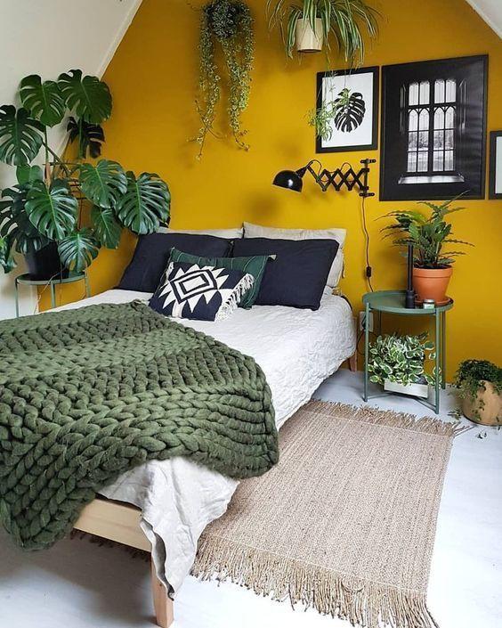 Mustard Yellow Bedroom Ideas #homedesignideas #homedecorideas #interiordesignide