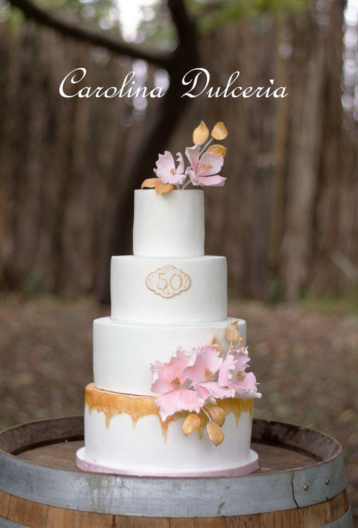 Aniversario 50 años, dorado, flores rosa