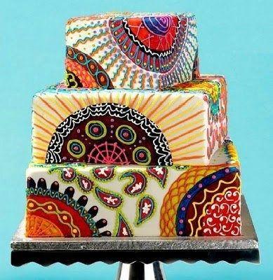 unique wedding cakes, wedding cake, cool wedding cakes, cool, wedding ideas, wedding planning, square cake, wedding style, sweets, wedding sweets, offbeat, offbeat wedding cake, print cake, painted cake
