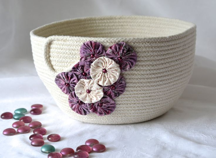 Pretty Yarn Bowl, Handmade Rope Basket, Modern Clothesline Basket, Lovely Candy Bowl,  hand coiled natural rope basket by WexfordTreasures on Etsy