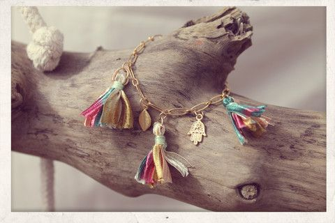 Tassel bracelet made with love from 16k gold plated chain, 14k gold plated charms and silky satin ribbons!