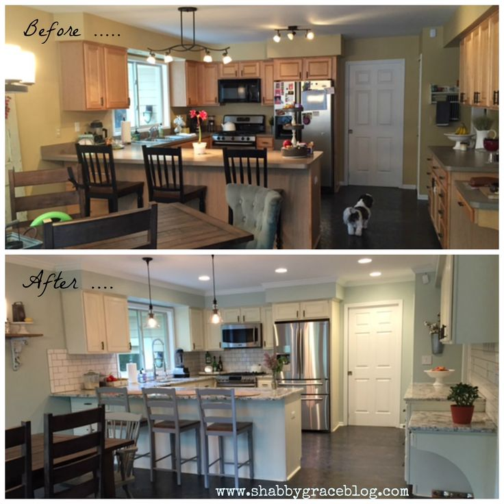 Kitchen Remodel Before and After.  Grohe Faucet.  White Subway Tile.  Annie Sloan Old White Kitchen Cabinets.  Samsung Appliances.  Sherwin Williams Sea Salt Wall Color.  Farmhouse Kitchen.