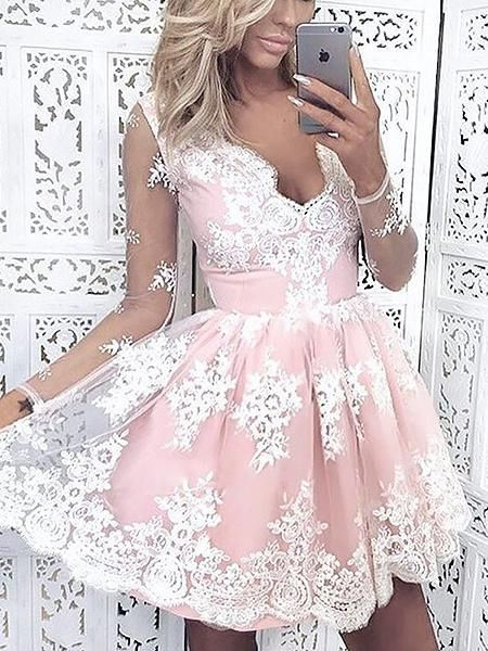 b0b8c9e9bfd Long Sleeve Beautiful Homecoming Dresses Lace V-neck Short Prom Dress Party  Dress JK744