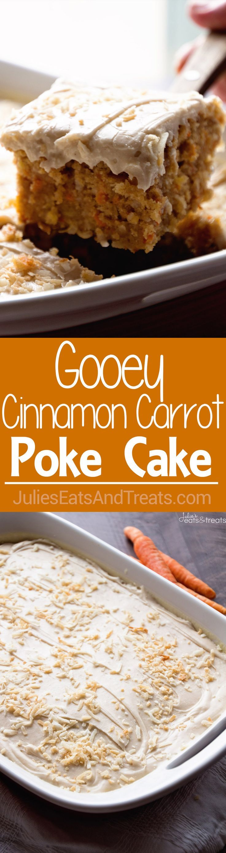 Gooey Cinnamon Carrot Poke Cake ~ Amazingly Moist Cake Stuffed with Carrots, Coconut, Pineapple, Topped with a  Buttermilk Glaze and Cinnamon Cream Cheese Frosting! http://www.julieseatsandtreats.com/gooey-cinnamon-carrot-poke-cake/