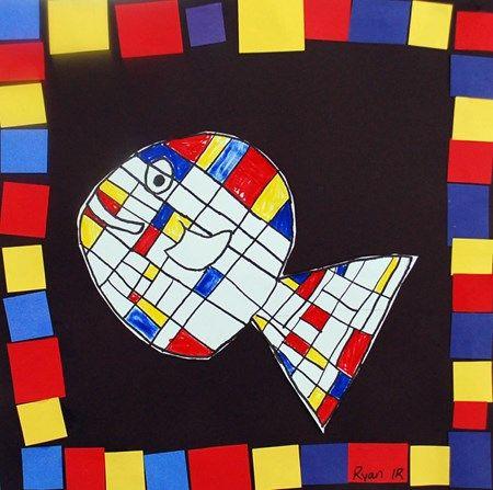 Lav fisk inspireret af Piet Mondrian, Fisken klippes ud og monteres på sort kardus. herefter klippes farvede firkanter ud og limes på kanten i et mønster. Eleverne lærer her dels om Mondrian, primærfarver og mønstre.