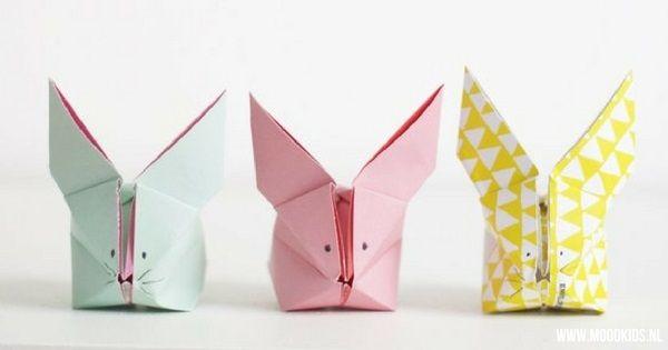 Duidelijke stap voor stap vouwinstructie origami haas vouwen met foto's en hele stijlvolle voorbeelden van de origami paashaasjes kunt