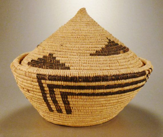 PAPAGO Indian Southwestern Basket Bowl 2 pcs by vintagevasso, $148.00