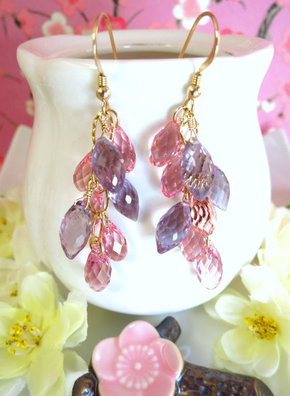 Pink Swarovski and Purple Amethyst Cluster Chandelier by KBlossoms