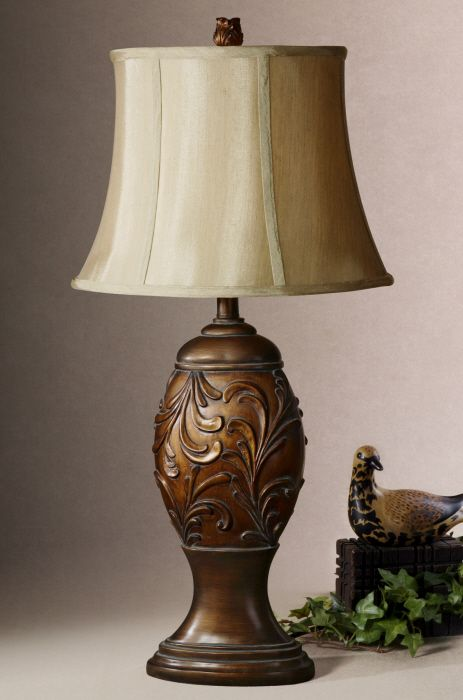 Gardner (name of lamp); Beautiful lamp from Uttermost; Heavily antiqued golden bronze with silken golden taupe textile shade.
