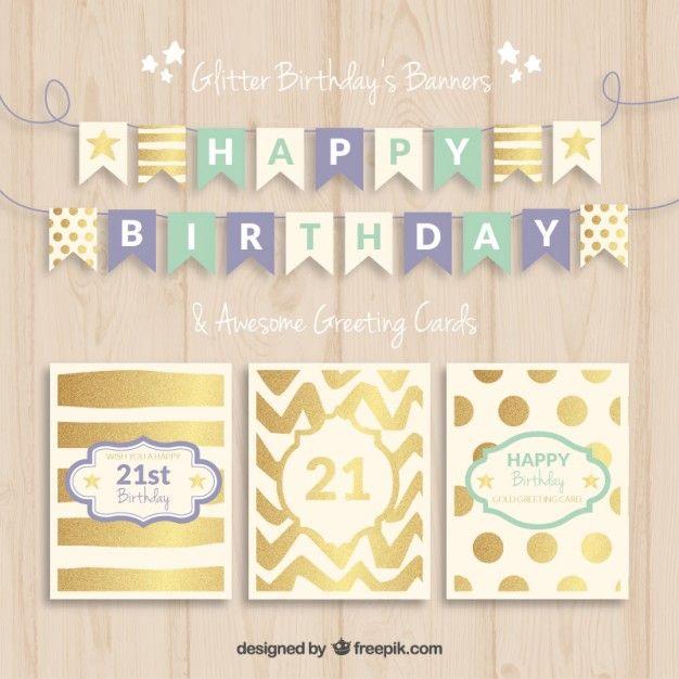 誕生日のバナーとカード 無料ベクター