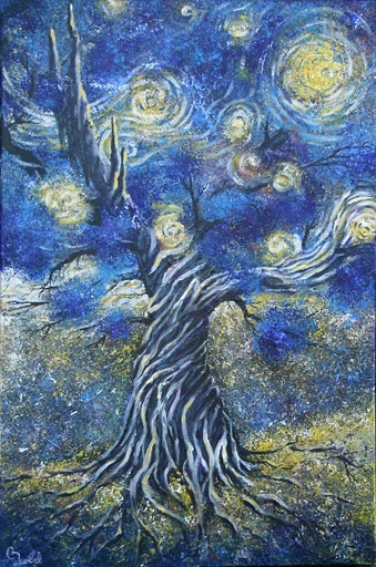 The Seed ~ #Painting #Tree #Expressionist #Art #moon #Stars #StarryNight #VanGogh #Tribute #Blue #Yellow #InTheDepths