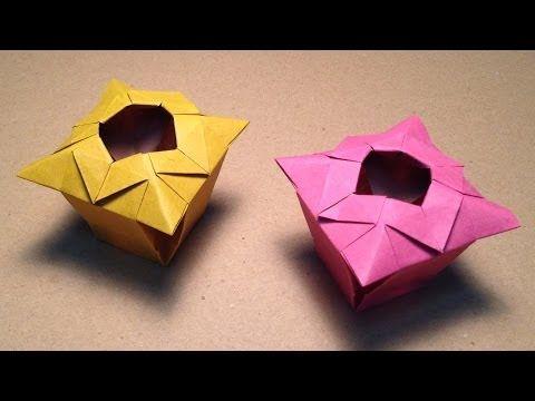 【折り紙(おりがみ)】 花瓶(箱、つぼ)の折り方 作り方 実用 入れ物 - YouTube